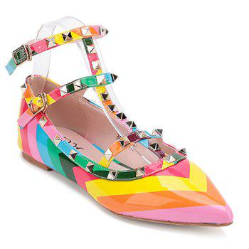 Sweet Color Block and Patent Leather Design Flat Shoes For Women