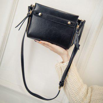 Simple Solid Colour and PU Leather Design Crossbody Bag For Women - BLACK