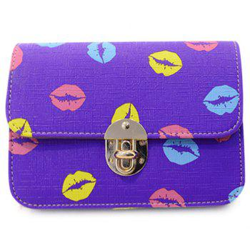 Trendy Chain and Lip Pattern Design Women's Crossbody Bag