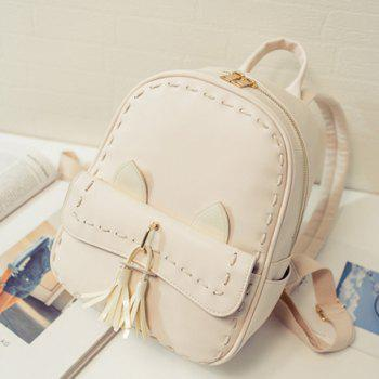 Trendy Solid Colour and Tassels Design Women's Backpack - OFF WHITE