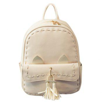 Trendy Solid Colour and Tassels Design Women's Backpack