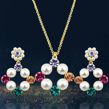 A Suit of Chic Rhinestone Faux Pearl Necklace and Earrings For Women