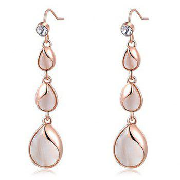 Faux Opal Tiered Teardrops Drop Earrings