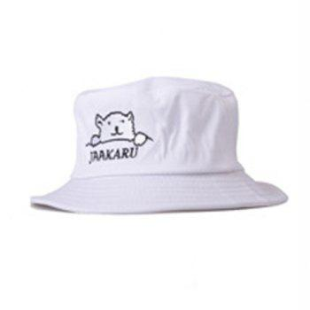 Chic Cartoon Bear and Letters Embroidery Flat Top Bucket Hat For Women