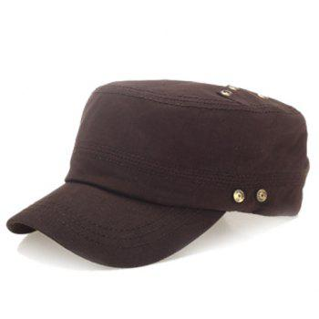 Stylish Buttons Embellished Solid Color Men's Military Hat