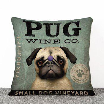Hot Sale Pug Dog Pattern Flax Pillow Case(Without Pillow Inner)