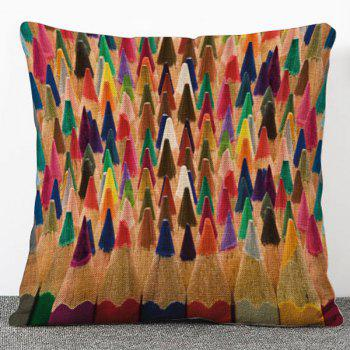 Chic Quality Multicolor Pencil Pattern Flax Pillow Case(Without Pillow Inner)