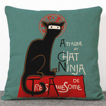 Fashion Ninja Cat Pattern Flax Pillow Case(Without Pillow Inner)