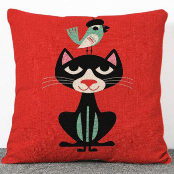Stylish Little Black Cat Pattern Flax Pillow Case(Without Pillow Inner)