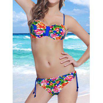 Stylish Spaghetti Strap Backless Floral Print Underwire Women's Bikini Set