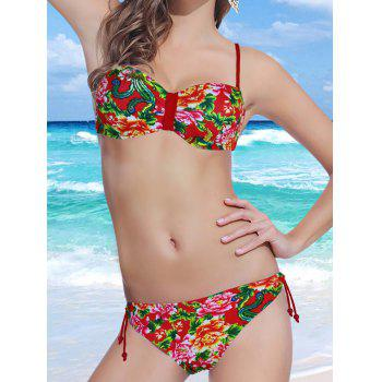 Stylish Spaghetti Strap Backless Floral Print Underwire Women's Bikini Set - RED RED