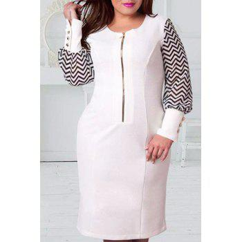 Fashionable Women's Long Sleeve Zigzag Plus Size Dress
