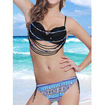 Stylish Spaghetti Strap Strappy Embellished Printed Underwire Women's Bikini Set - BLACK M