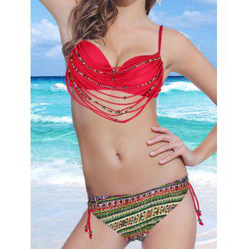 Stylish Spaghetti Strap Strappy Embellished Printed Underwire Women's Bikini Set