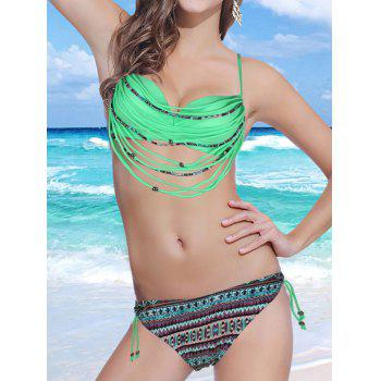 Stylish Spaghetti Strap Strappy Embellished Printed Underwire Women's Bikini Set - APPLE GREEN S
