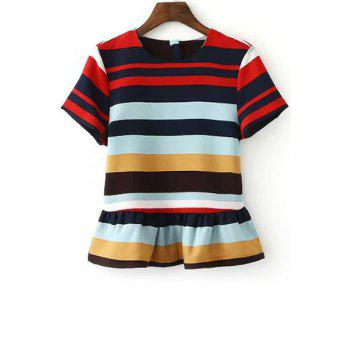 Stylish Round Neck Short Sleeve Stripe Ruffles Women's T-Shirt