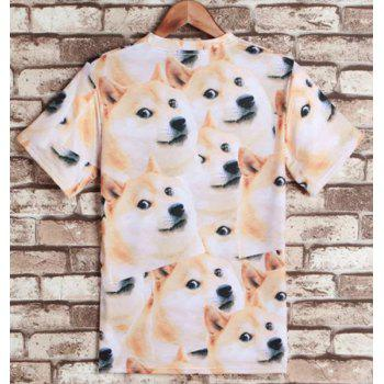 Funny Dog Print Round Neck Short Sleeves Men's 3D T-Shirt - COLORMIX M