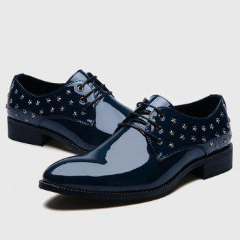 Stylish Star and Patent Leather Design Men's Formal Shoes - BLUE 38
