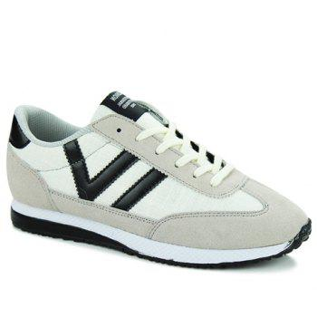 Leisure Color Matching and Lace-Up Design Men's Athletic Shoes - WHITE WHITE