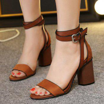comfortable cheap online from china sale online Casual Buckle Strap and Chunky Heel Design Sandals For Women - Brown 36 FAiBCdvNK