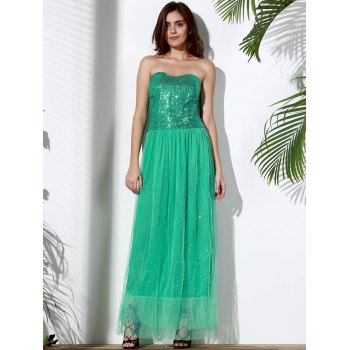 Alluring Strapless Sleeveless Sequined Spliced Women's Maxi Dress - GREEN L