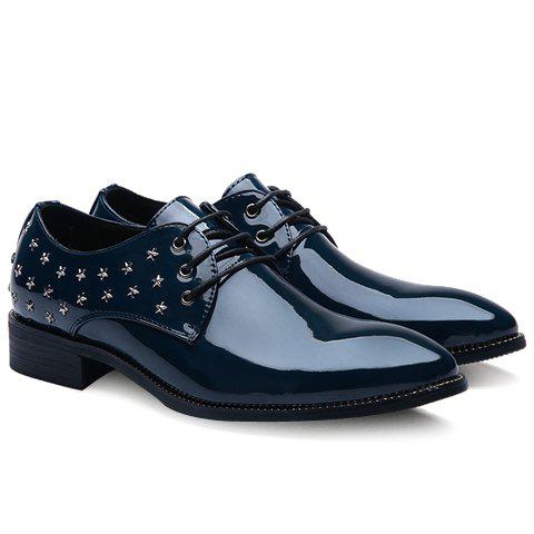 Stylish Star and Patent Leather Design Men's Formal Shoes - BLUE 41