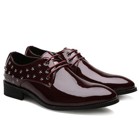 Stylish Star and Patent Leather Design Men's Formal Shoes - RED 41