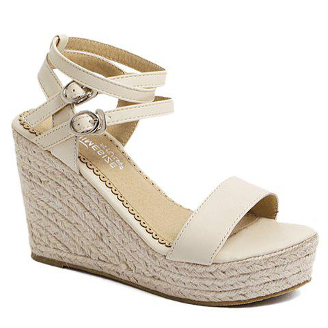 Fashionable PU Leather and Wedge Heel Design Sandals For Women - APRICOT 38
