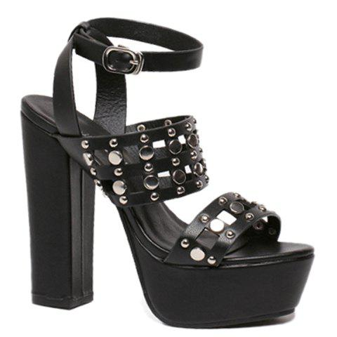 Trendy Chunky Heel and Hollow Out Design Sandals For Women - BLACK 38