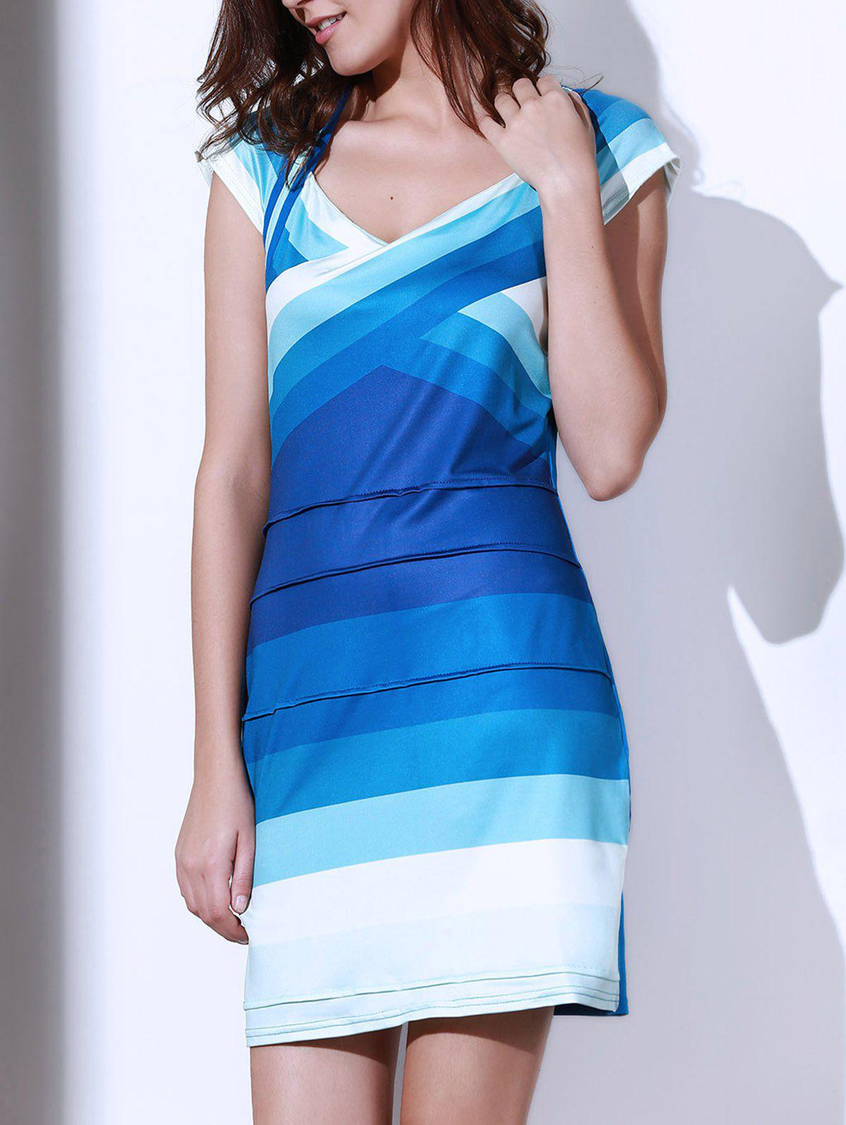 Sexy Ombre Sweetheart Neck Short Sleeve Dress For Women - BLUE S