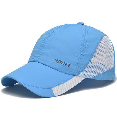 Stylish Letter Pattern Hollow Out Mesh Splicing Baseball Cap - LIGHT BLUE