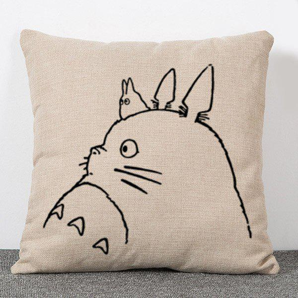Sweet Simple Style Totoro Pattern Flax Pillow Case(Without Pillow Inner) - APRICOT
