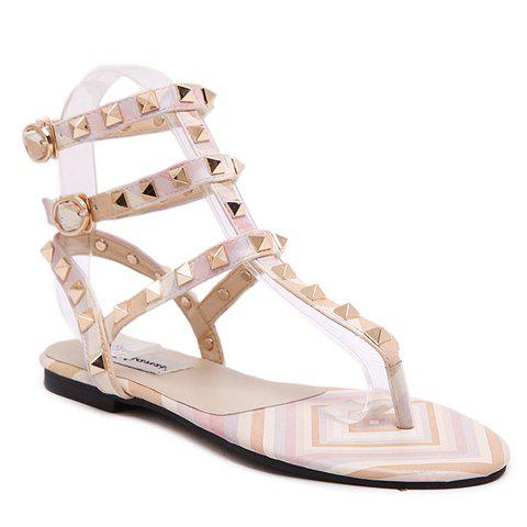 Sweet Flip Flops and Rivets Design Sandals For Women - PINK 38
