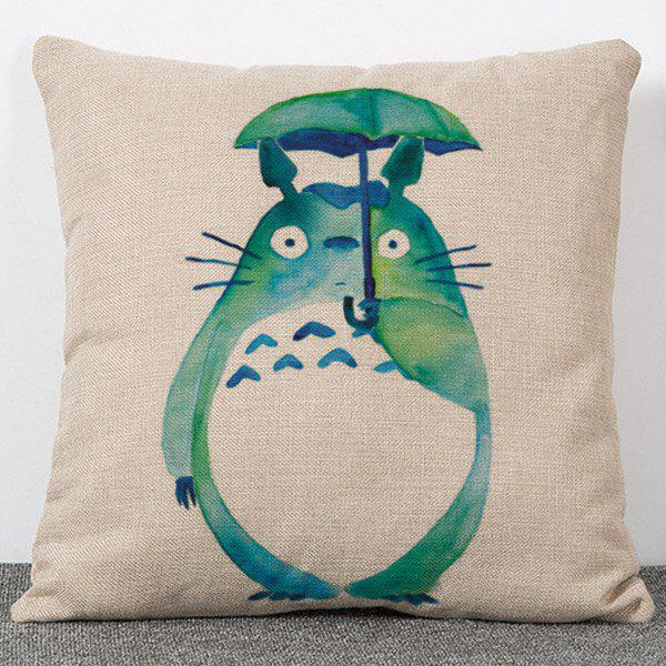 Hot Sale Sweet Style Totoro Pattern Flax Pillow Case(Without Pillow Inner) - APRICOT
