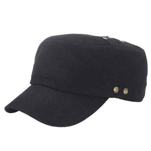 Stylish Buttons Embellished Solid Color Men's Military Hat - BLACK