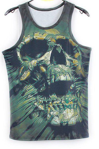 Fashion 3D Skull Printed Tank Top For Men - GREEN M