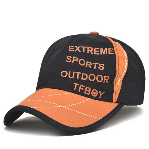 Stylish Letters and Dashed Line Pattern Baseball Cap - BLACK