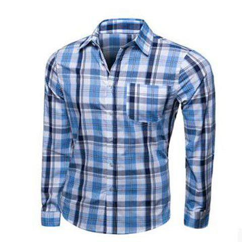 Fashion Turn-down Collar Color Block Plaid Men's Long Sleeves Shirt - LIGHT BLUE L