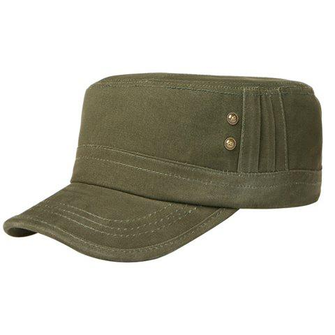 Stylish Two Buttons Embellished Solid Color Men's Military Hat - ARMY GREEN