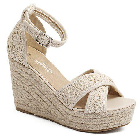 Graceful Ankle Strap and Weaving Design Women's Sandals - APRICOT 36