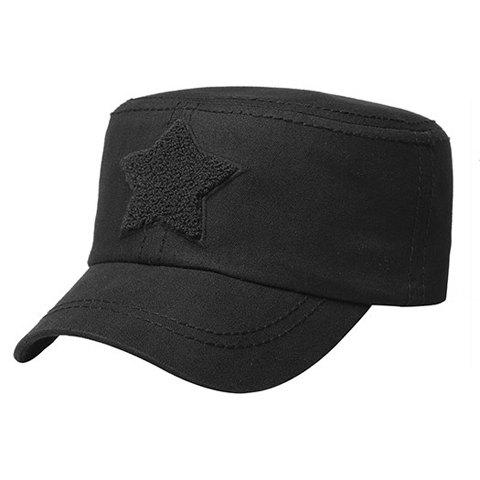 Stylish Five-Pointed Star Shape Embellished Men's Military Hat - BLACK