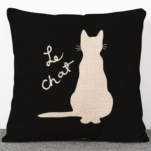 Chic Quality Animal Cat Pattern Flax Pillow Case(Without Pillow Inner) - BLACK