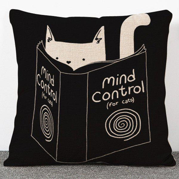 Chic Quality Book and Cat Pattern Flax Pillow Case(Without Pillow Inner) - BLACK