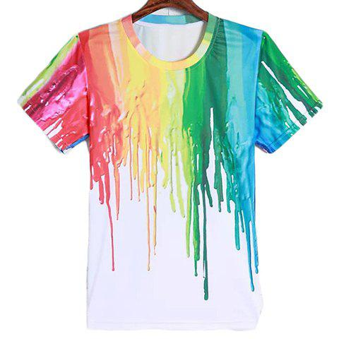 Round Neck 3D Colorful Splash-Ink Pattern Men's Short Sleeves T-Shirt - COLORMIX L