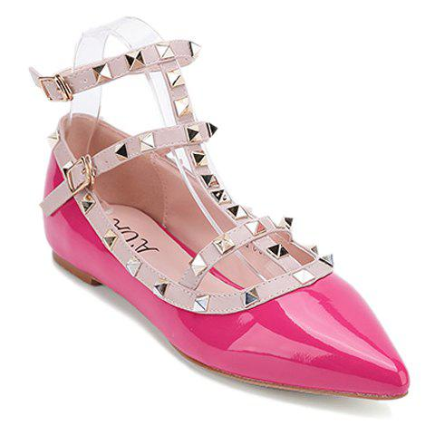 Sweet Rivets and Patent Leather Design Flat Shoes For Women - ROSE 38