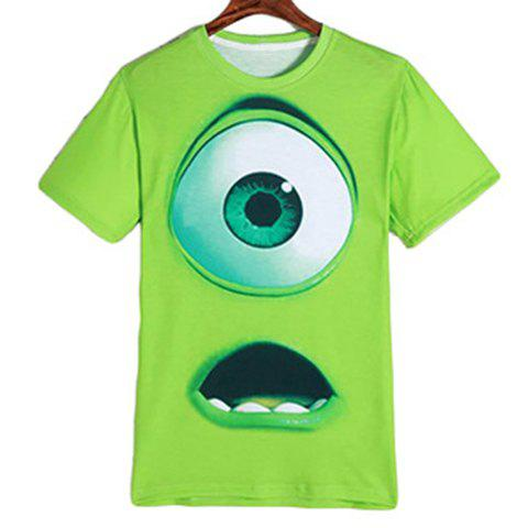 Cartoon Eyes Mouth Print Round Neck Short Sleeves Men's 3D T-Shirt - GREEN M