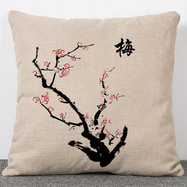 Stylish Plum Pattern Chinese Style Flax Pillow Case(Without Pillow Inner) - APRICOT