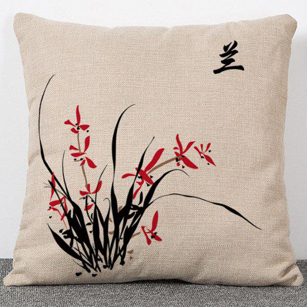 Fashion Orchid Pattern Chinese Style Flax Pillow Case(Without Pillow Inner) - APRICOT