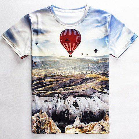 Vogue Round Neck 3D Fire Balloon Print Mens Short Sleeves T-ShirtMen<br><br><br>Size: XL<br>Color: WHITE