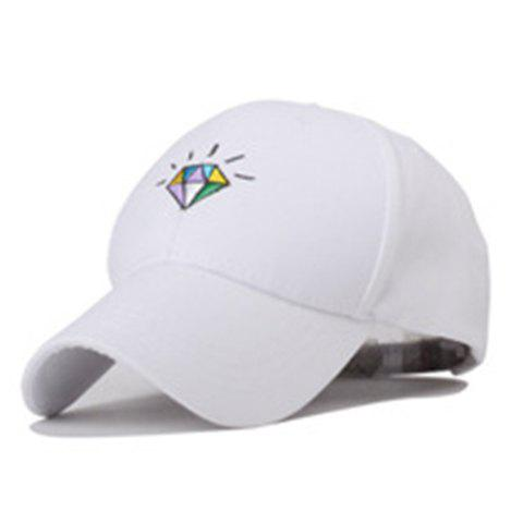 Chic Adjustable Colorful Diamond Embroidery Baseball Cap For Women - WHITE